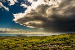 Eine Ansicht vom Gipfel von Pendle-Hügel stockfotografie