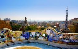 Eine Ansicht vom Park Guell, Barcelone, Spanien Lizenzfreie Stockfotografie