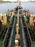 Eine Ansicht von ausbaggerndem Schiff an Lumut-Flussmündung Lizenzfreies Stockbild