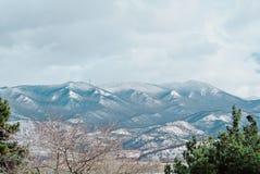 Eine Ansicht von den Bergen bedeckt mit Schnee und Kiefern am Vorderteil Lizenzfreie Stockfotografie