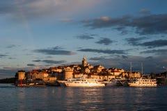 Eine Ansicht von Korcula vom Meer Lizenzfreies Stockfoto