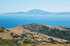 Eine Ansicht von Marokko ?ber der Stra?e von Gibraltar lizenzfreie stockfotografie