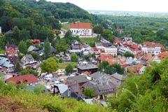 Eine Ansicht von oben genanntem der polnischen historischen Stadt von Kazimierz Dol lizenzfreie stockfotografie