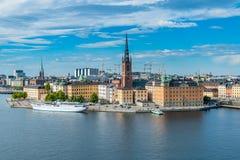 Eine Ansicht von Riddarholmen eine kleine kleine Insel in zentralem Stockholm stockfotografie
