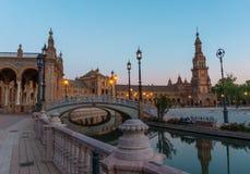 Eine Ansicht von spanischem quadratischem (Plaza de Espana) Sevilla, Spanien Stockbilder
