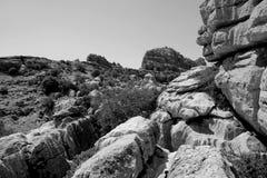 Eine Ansicht von Torcal, Andalusien Lizenzfreies Stockbild