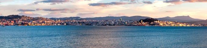 Eine Ansicht von Vigo bei Sonnenuntergang Stockbild