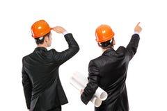 Eine Ansicht von zwei Architekten in einem Klageschauen Lizenzfreie Stockfotos