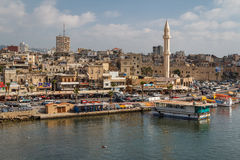 Eine Ansicht zum alten Teil von Saida Stockbilder