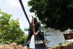 Eine Arbeitskraft gräbt ein Loch, indem er Hacke am Garten verwendet lizenzfreies stockbild