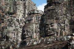 Eine Architektur von Bayon stellt an Bayon-Schloss in Siem Reap, Camb gegenüber lizenzfreie stockfotos