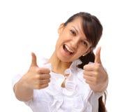 Eine aufgeregte Geschäftsfrauvertretung Lizenzfreie Stockfotos