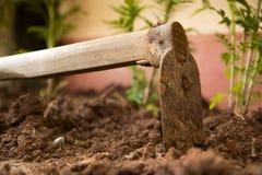 Eine Ausrüstung für manuelle Grabung ein Loch, zum von Bäumen zu pflanzen stockfotografie
