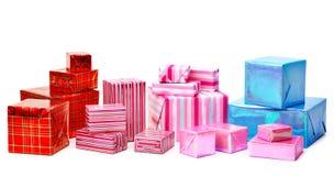 Eine Auswahl der bunten Geschenke stockfotos