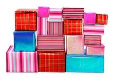 Eine Auswahl der bunten Geschenke lizenzfreie stockfotos