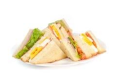 Eine Auswahl von Sandwichen mit verschiedenen Füllungen Stockbilder