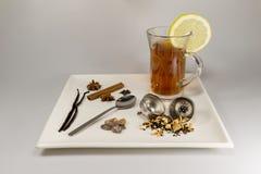 Eine Auswahl von Teebestandteilen und von frisch gebrautem schwarzem Tee Lizenzfreie Stockfotos