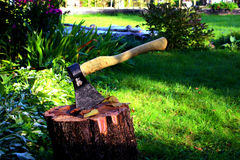Eine Axt auf einem Stummel in einem Garten Lizenzfreie Stockfotos