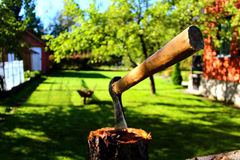 Eine Axt in einem Garten Stockfoto