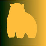 Eine Bärnbildentwurfs-Zusammenfassungszahl auf einem gelben Hintergrund Stockfotografie