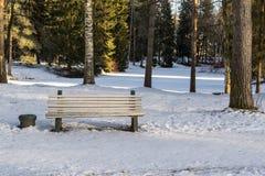 Eine Bank auf Schnee im Winterpark Stockbilder