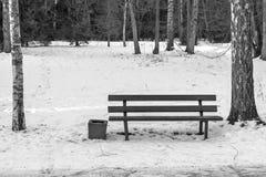 Eine Bank auf Schnee im Winterpark-Monochromton Stockfoto