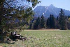 Eine Bank in den Alpen, Bayern lizenzfreies stockfoto