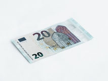 Eine Banknote wert den Euro 20 lokalisiert auf einem weißen Hintergrund Stockbilder