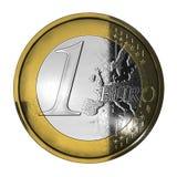 Eine benutzte Euromünze Lizenzfreies Stockbild