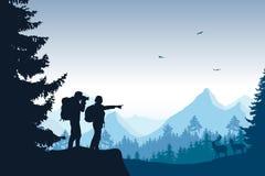 Eine Berglandschaft mit einem Wald und Touristen, die a fotografieren stock abbildung