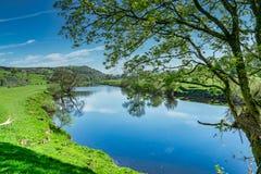Eine Biegung im Fluss Lune nahe Lancaster Stockfotografie