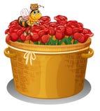 Eine Biene am Korb voll von roten Rosen lizenzfreie abbildung