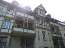 Eine Binderhausfassade in Erfurt stockfoto