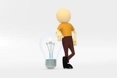 Eine Birne des elektrischen Lichtes mit einem Mann Lizenzfreie Stockfotografie