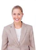 Eine blonde Geschäftsfrau in der Kommunikation Stockbilder