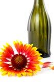 Eine Blume ist mit einer Flasche und den Blumenblättern rot Lizenzfreie Stockbilder