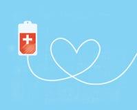 Eine Blutspendentasche mit Rohr formte als Herz stockfoto
