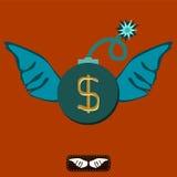 Eine Bombe mit einer beleuchteten Sicherung und Flügeln Das Dollarsymbol Stockbild