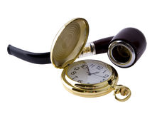 Eine Borduhr ist Tasche und rauchendes Gefäß Lizenzfreie Stockfotos