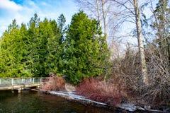 Eine Brücke bei Gene Coulon Memorial Beach Park lizenzfreie stockbilder