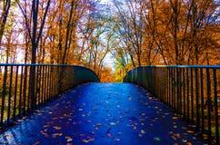 Eine Brücke im Park stockbild