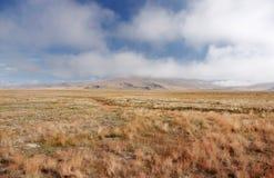 Eine breite Gebirgssteppenwiese mit gelbem Gras und Nebel bewölkt sich auf der Ukok-Hochebene Stockfoto