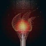 Eine brennende Fackel, besteht aus kupfernen Druckleiterplatten, der Flamme vom binär Code Das Artefakt von Cyberspace Stockbilder