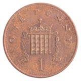 Eine britische Pennymünze Stockbilder