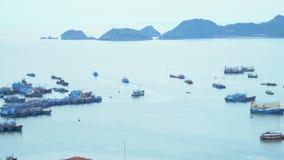 Eine Bucht in Vietnam Panoramische Landschaftsansicht von Cat Ba City von Cat Ba Island, Vietnam stock footage