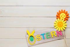 Eine bunte Frühlingsgrußkarte mit Tulpen für Ostern, Mutter ` Lizenzfreie Stockbilder