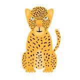Eine bunte Jaguarillustration Vektorgepard lokalisiert auf weißem Hintergrund, für Kindapp, Spiel, Buch, Aufkleber stock abbildung