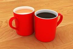 Eine bunte Tee-und Kaffeetasse-Illustration Stockfotos