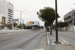 Eine Bushaltestelle vor La Feria, Leon, Guanajuato lizenzfreies stockbild