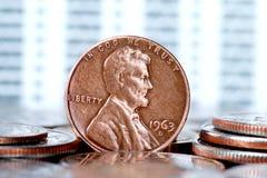 Eine Cent US-Münze Lizenzfreie Stockfotos
